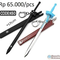 Gantungan kunci pedang kirito dan asuna sword art online /spade anime