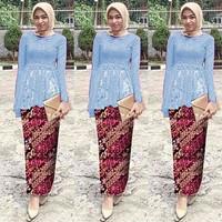 Baju Kebaya Jawa Setelan Rok Batik Brukat St Samire Biru Muda Murah