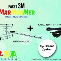 Antena TV Outdoor Digital Analog TANAKA U-27 KABEL 15M U27 LCD LED