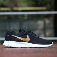 sepatu nike tanjun trainer black white gold hitam putih emas