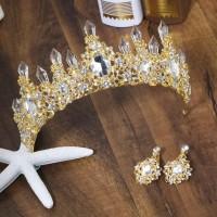Mahkota rambut anting set tiara wedding crown pesta pengantin CC0100GC