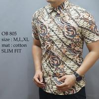 Batik , kemeja slimfit pria,baju batik cowo lengan pendek ob 805