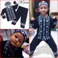 Baju Koko Anak HITAM Pakaian Muslim Anak Keren MARUNO