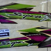lis body/stiker/striping honda Supra X 100cc 2002 Abu abu Hitam