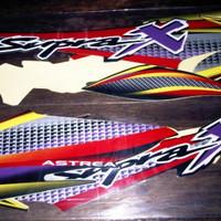 lis body/stiker/striping honda Supra X 100cc 2003 Hitam merah