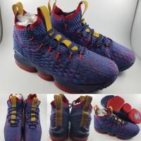 Sepatu Basket Nike Lebron XV 15 High Cavs Media Day Purple Gold Ungu