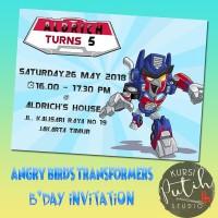 Undangan ulang tahun birthday invitation tema angry bird transformers