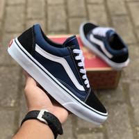 Sepatu Vans Old Skool Classic Navy Blue White DT BNIB Original Premium