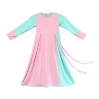 BAJUYULI - Baju Muslim Anak Perempuan Gamis Jersey Peach Mint