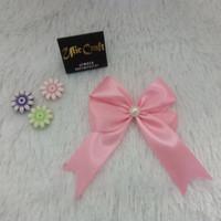 Aplikasi Pita Satin 1 /2,5cm Bahan Souvenir / Pink bentuk Kupu