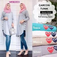 Atasan wanita kemeja tunik / Baju busui katun murah : Garcon Tunik
