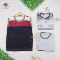 Kaos Oblong Salur 1-2 Tahun / Baju Tanpa Lengan Kutung Balita Laki