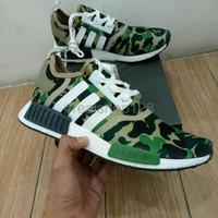BIG SALE Terlaris Sepatu Adidas NMD R1 X Bape Camo Green Unauthorized
