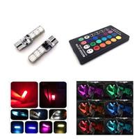2pc lampu senja LED RGB T10 5050 SMD 16 warna motor dan mobil plus rem