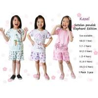 KAZEL 3 Set Setelan Pendek Anak - GIRL   Baju Harian Anak Perempuan
