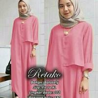 Promo DL190518 baju muslim tanah abang gamis retako pink