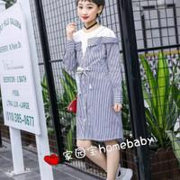 Baju anak tanggung perempuan import branded dress sabrina stripes long