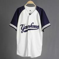 JERSEY BASEBALL - Baju Baseball / Baju hip-hop / yankees white navy