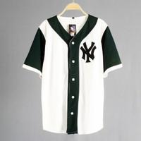 JERSEY BASEBALL - Baju Baseball / Baju hip-hop / NY white green