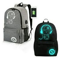 Tas ransel import luminous glow in the dark backpack USB Anti theft