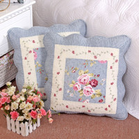 Sarung bantal shabby chic quilted patchwork cotton 45x45