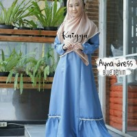 dress ayna -gamis busui friendly -blue denim size -S -M -L