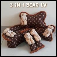 Bantal Mobil Bear LV Set Bantal Mobil Murah Lucu Berkualitas