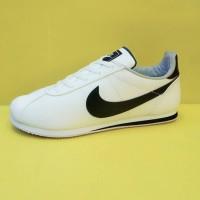 sepatu sneakers casual running nike cortez putih hitam men cowok pria - Putih Hitam, 39