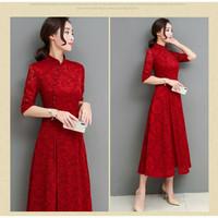 Imlek Adat Dress Klasik Shanghai Cheongsam China Cina Baju Pakaian