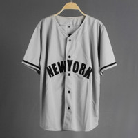 JERSEY BASEBALL - Baju Baseball / Baju hip-hop / newyork grey