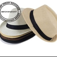 topi fedora anyaman/hat tompi jazz/topi promosi/topi koboy/topi pesta