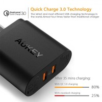 Original AUKEY PA-T16 USB Wall Charger 36W 2 Port USB Quick Charge 3.0