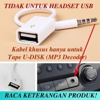 V-TECH AUX Audio Plug Jack 3.5mm Male To USB 2.0 Female Adapter WHITE