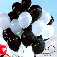 Balon Hitam Putih Metalik