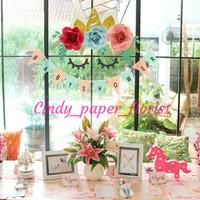 unicorn paper flower backdrop simple