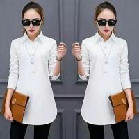 Sh-8-0006 Kemeja Kerja Wanita Panjang Long Shirt Warna Putih