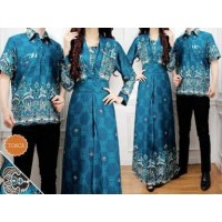 9007 baju couple batik maxi dress muslimah anggun biru kemeja formal