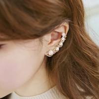 Anting Clip Rhinestone Pearl Earring Beautiful and Sweet