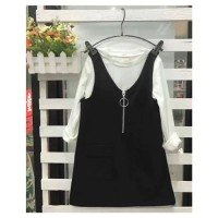 Black Ziper Overall Set / Overall Dress Anak Perempuan Import