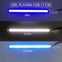 SEPASANG LAMPU DRL PLASMA LED COB 17CM PUTIH/BIRU DEPAN MOTOR MOBIL 17