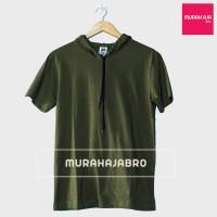 Baju Kaos Polos Hoodie Lengan Pendek Pria Wanita Tali - Green Army