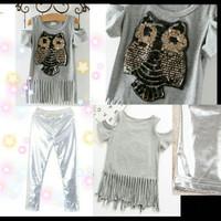 Setelan Anak Import. Setelan T-shirt Sabrina Owl & Celana Silver