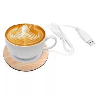Portable USB Wood Grain Cup Warmer Beverage Mug Mat