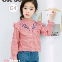 Baju Setelan Anak Perempuan OK86 Kemeja Katun Bordir Garis Merah Jeans