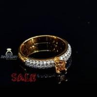 SALE / PROMO cincin berlian asli fashion wanita 0.49 ct emas kuning