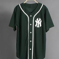JERSEY BASEBALL - Baju Baseball Baju hip-hop NY green