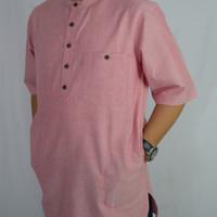 Kurta Koko Gamis Pria Ahsanta Soft Pink Keren