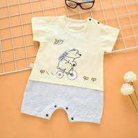 romper Baby motif baby bear yellow lucu