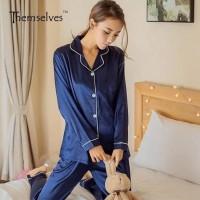 Jfashion Stelan Baju Tidur Tangan Panjang Celana Panjang - Silky PP