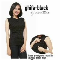 Baju Menyusui Ghifa Hitam Black Kutung Tank Top Kaos Busui Ibu Hamil